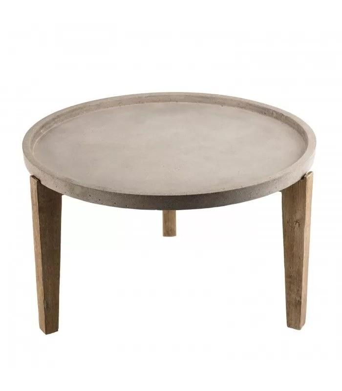 table basse ronde tablette en beton 80x80cm et bois massif prestige
