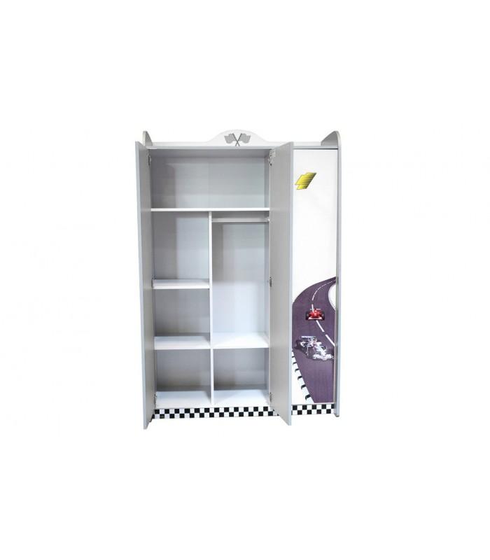 armoire enfant voiture course blanche miroir 3 portes