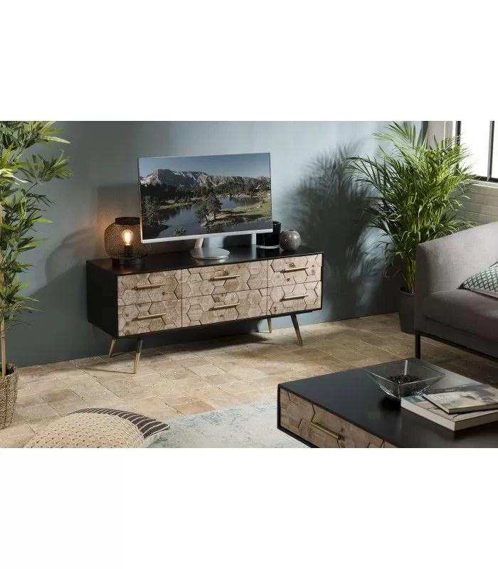 meuble tv 6 tiroirs caisson noir et bois motifs losange olivia