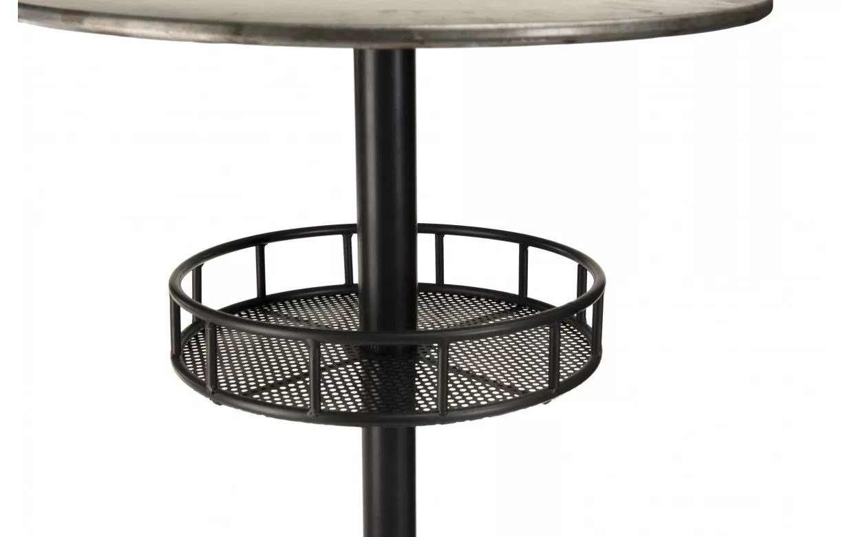 table de bar ronde avec plateau en zinc