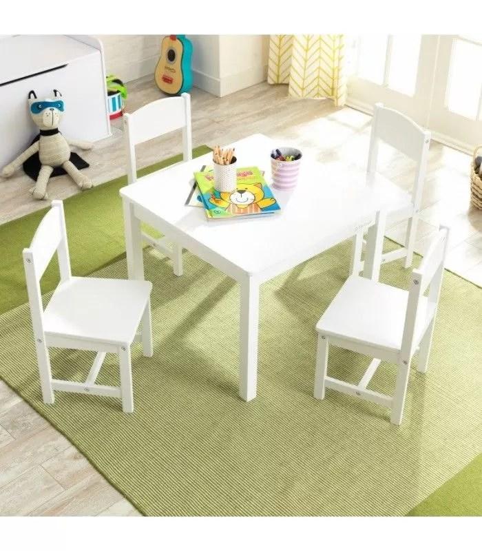 ensemble blanc table 4 chaises pour enfant