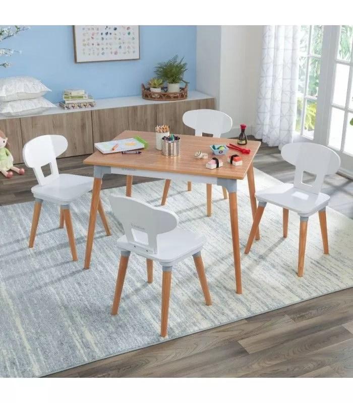 ensemble table et 4 chaises pour enfant bois et blanc