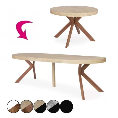 table ronde a rallonges en bois extensible a 260cm sonia decome store