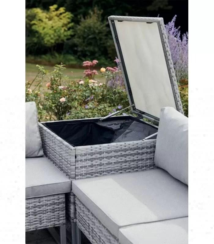salon de jardin angle avec coffre integre gris taupe 4 places belem