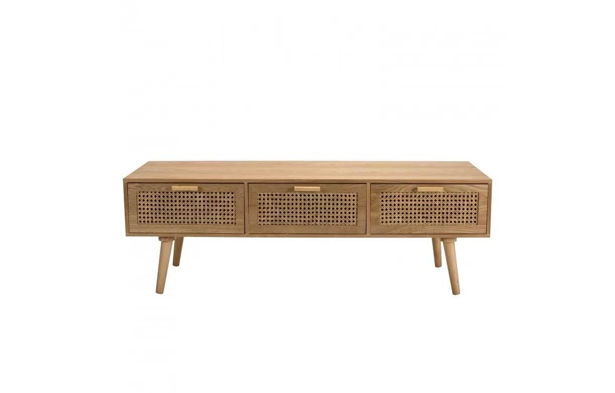 meuble tv couleur naturel 3 tiroirs