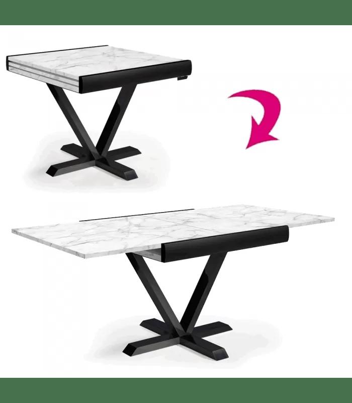 table carree extensible effet marbre blanc rallonge integree newage
