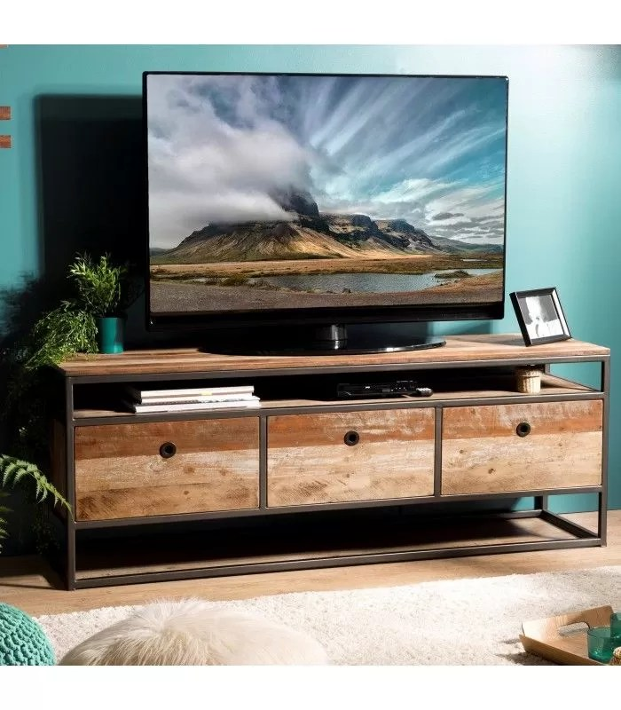meuble tele bois massif et metal avec 3 tiroirs et etagere sula
