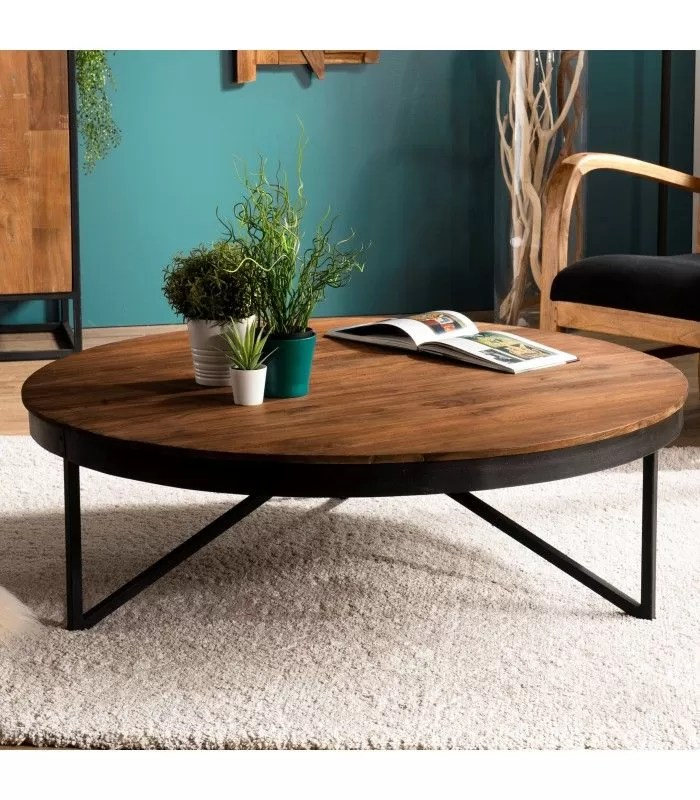 table basse ronde 110cm teck massif pieds metal sula
