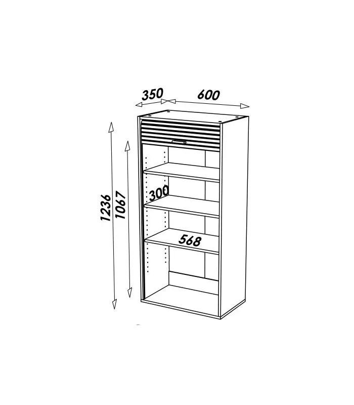 rangement de cuisine avec rideau deroulant largeur 60cm