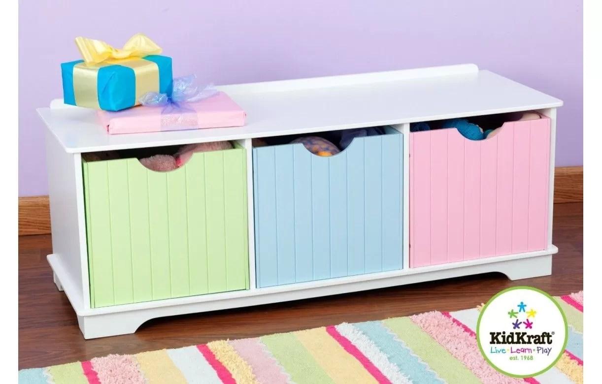 Banc De Rangement Chambre Enfant 3 Cases Blanc Decome Store