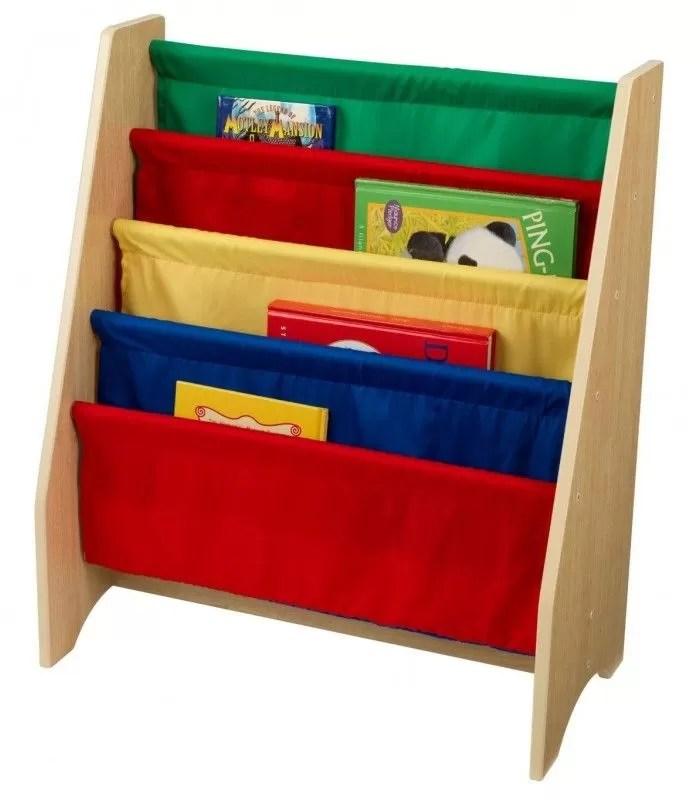 bibliotheque pour enfants bois et toile souple 4 couleurs
