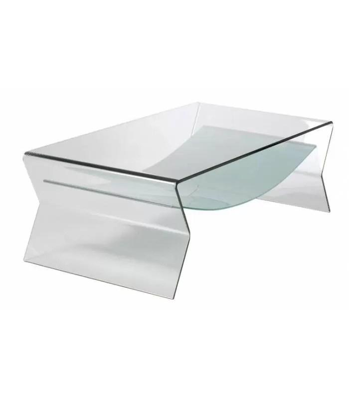 table basse fixe en verre transparent byron