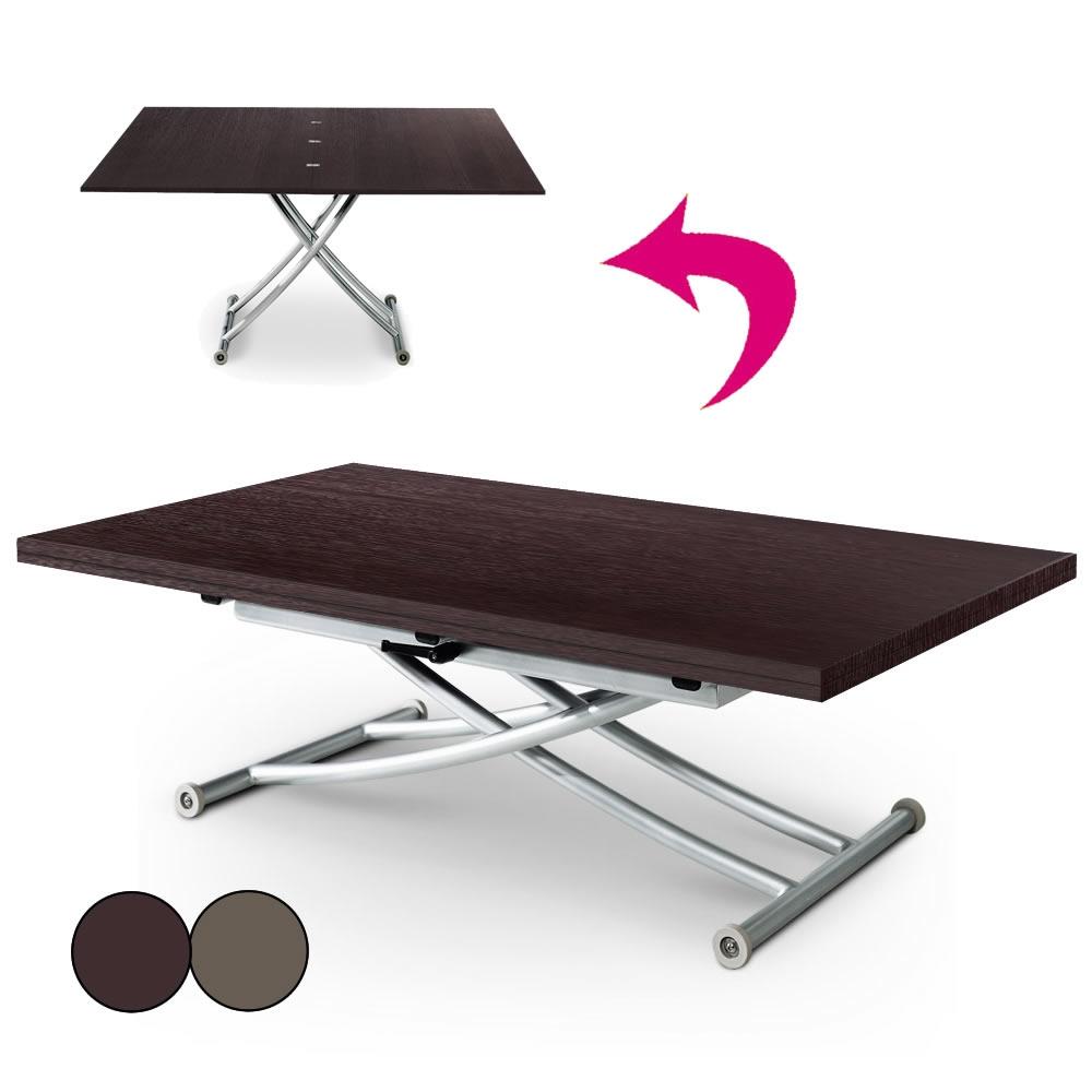 table basse relevable en bois brut wenge ou vintage carreraia xl