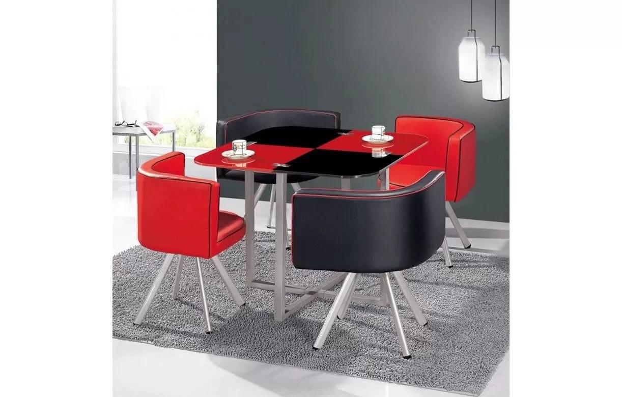 Table En Verre Et 4 Chaises Encastrables Bicolore 5