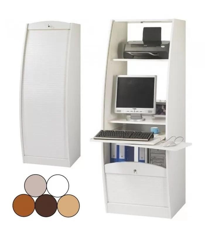 bureau secretaire informatique a rideau deroulant largeur 60cm 5 coloris