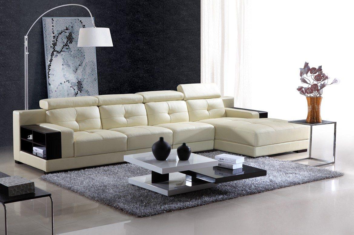 Sof chaise longue de cuero blanco moderno  Imgenes y fotos