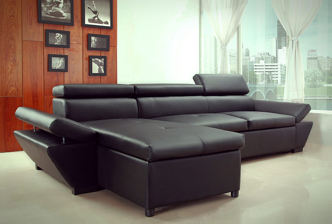 Sof chaise longue moderno en cuero negro  Imgenes y fotos