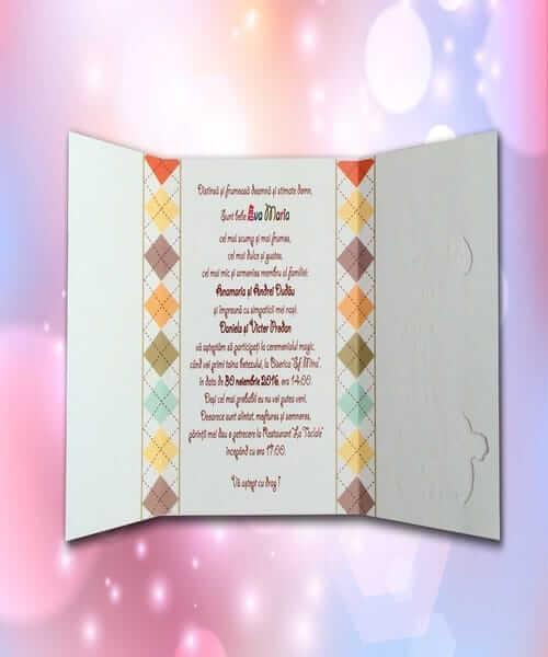 Invitatie de botez cod 119 din Catalogul Lara Baby