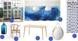 planche d'ambiance et d'inspiration sur la thématique scandinave, bois et bleu indigo