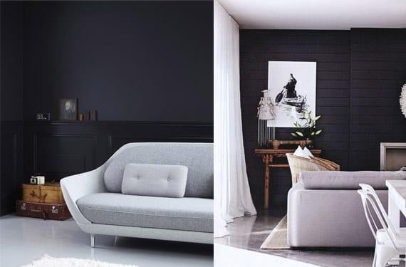 Salones con paredes oscuras en tonos negros y azules