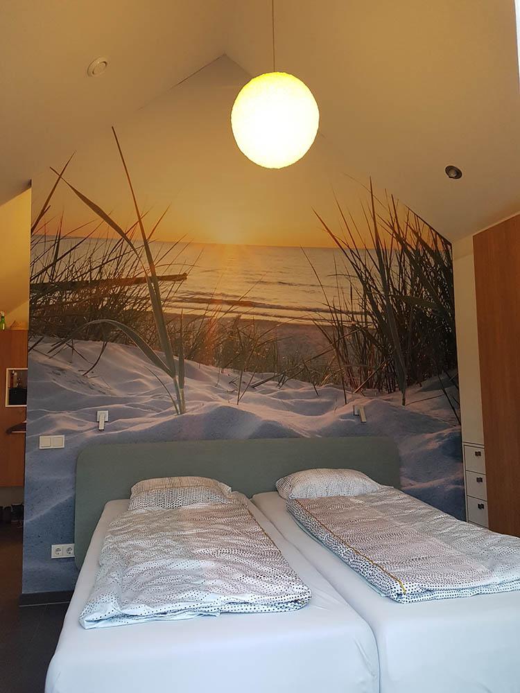 Fotowand in badkamer en slaapkamer