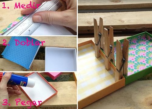 manualidad niños 10 DIY: Una estantería con tapas de cajas empapeladas by Terrón de Azúcar