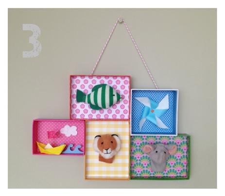 manualidad niños 4 DIY: Una estantería con tapas de cajas empapeladas by Terrón de Azúcar