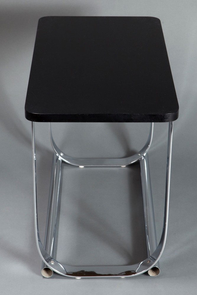American Art Deco Black  Chrome Occasional Table