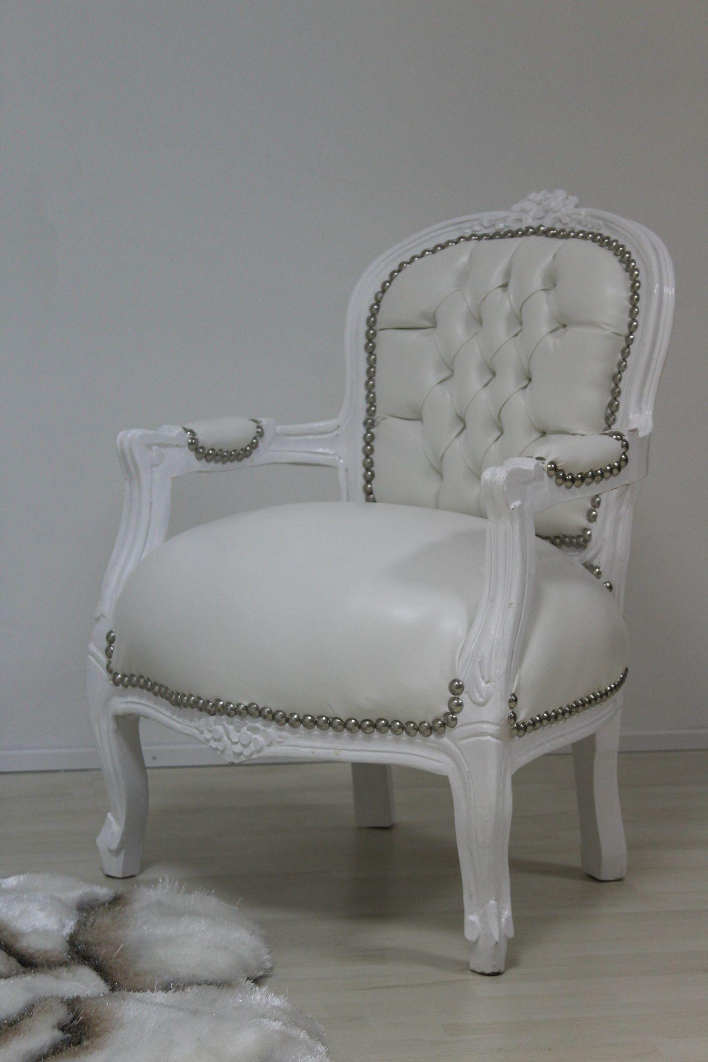 Barock Kinder Sessel Wei Kunstleder Shabby
