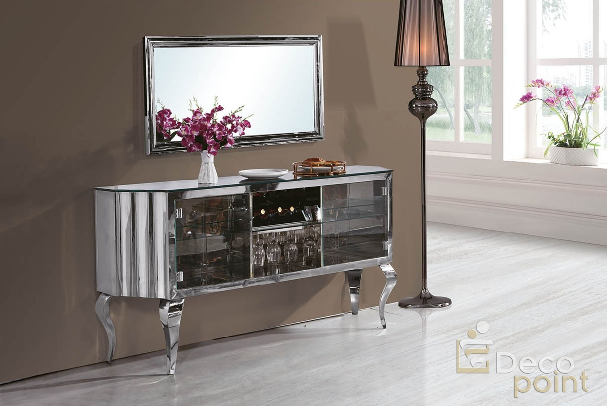 Chrom  Silber Spiegel Barock Sideboard Bar Prada mit schwarzen Opalglas