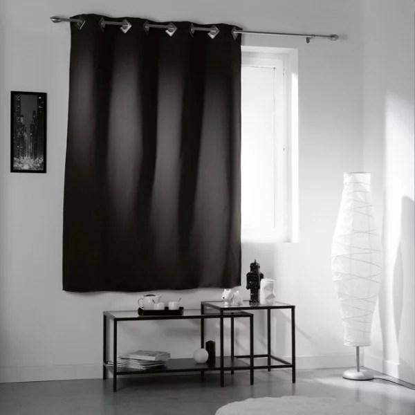 rideau œillets occultant court noir