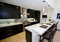 White Carrara Marble Kitchen Countertops Dark Cabinets