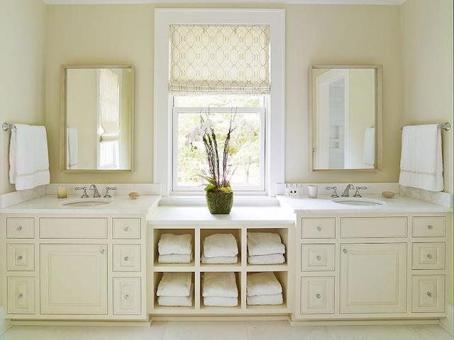 Cream Bathroom Vanity Cabinets White Countertops
