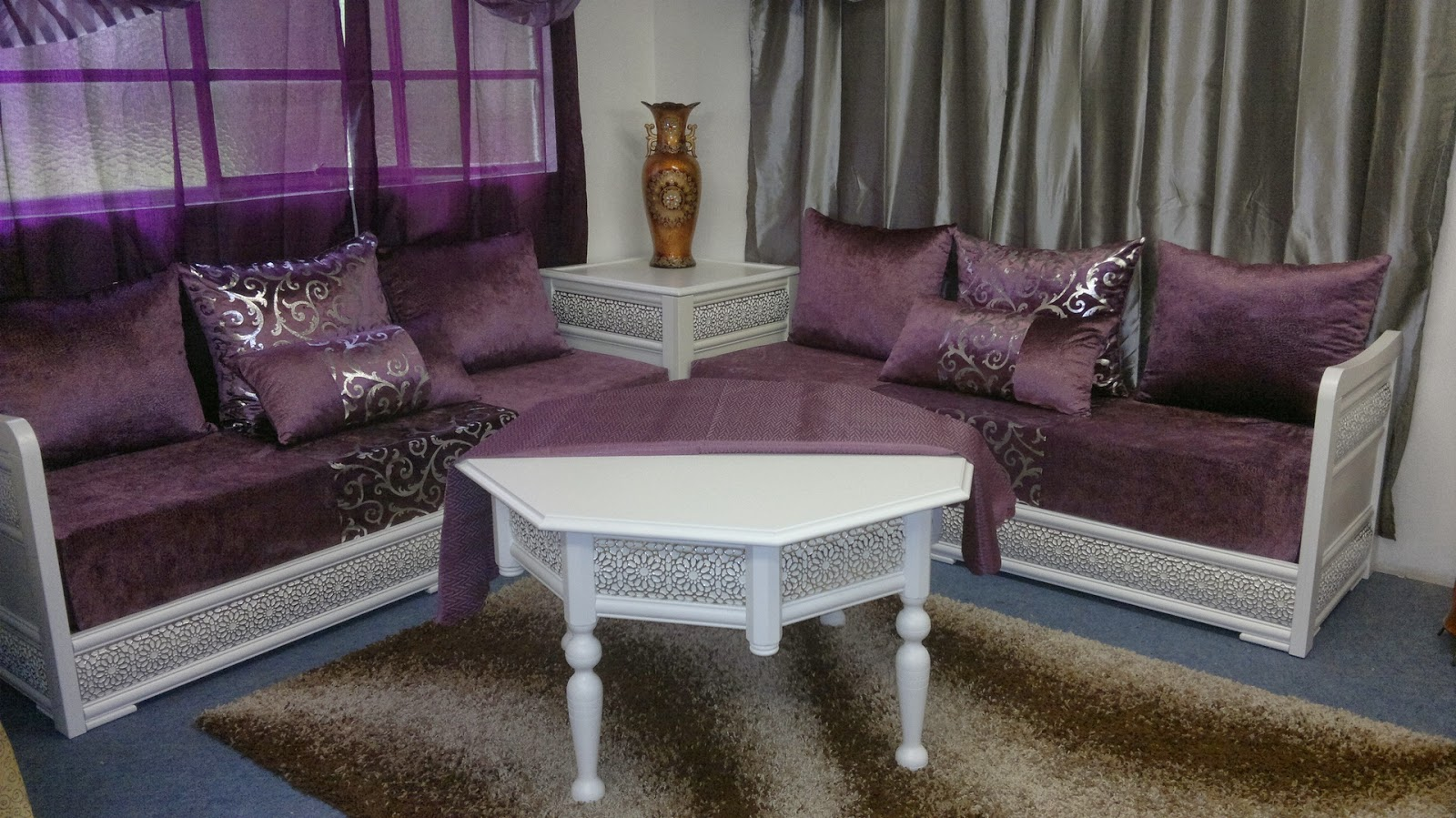 Canaps de salon marocain en bois  Dcor salon marocain