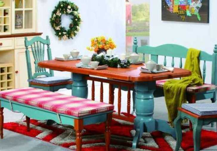 Colorful Painted Dining Table