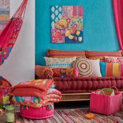 Color Schemes For Living Room With Green Sofa Hardwood Floors Bright Blue And Pink Combination Festive Spring ...