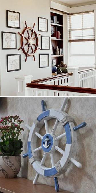 Nautical Decor Ideas Enhanced by Vintage Ship Wheels and Handmade Themed Decorations