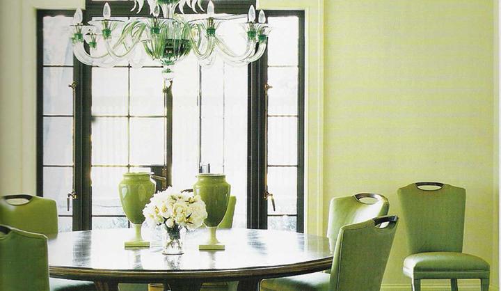 Decorar un comedor de color verde