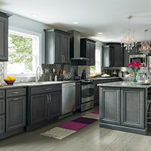 kitchen cabinets color drawer knobs cabinet trends decora cabinetry leyden gray in maple cobblestone