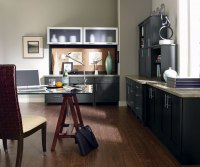 dark grey home office Cobblestone Grey Cabinet Color on Maple - Decora