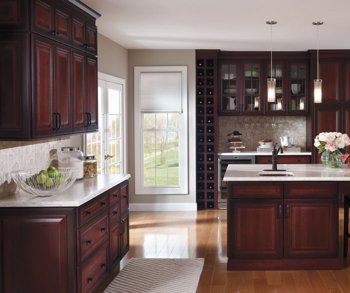 kitchen glass cabinets rubber mats dark cherry with cabinet doors decora by cabinetry