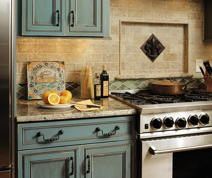 teal kitchen appliances farmhouse islands turquoise cabinets - decora cabinetry
