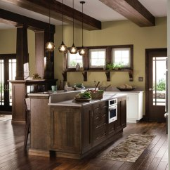 Oak Cabinet Kitchen Island Granite Top Quartersawn Cabinets In Rustic Decora A By Cabinetry