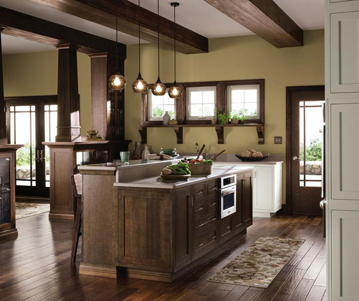 oak cabinet kitchen installing flooring quartersawn cabinets in rustic decora a by cabinetry