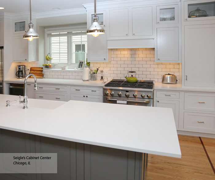 White Inset Cabinets & Gray Kitchen Island Decora