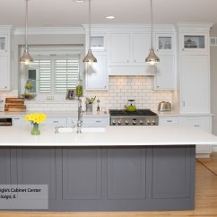 Colored Kitchen Islands Fluorescent Lighting White Inset Cabinets Gray Island Decora Harmony With A