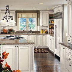 Glazed Kitchen Cabinets Green Island Off White In Traditional - Decora