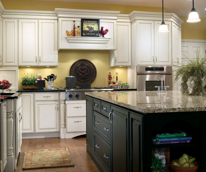 Off White Kitchen With Black Island Cabinets Decora