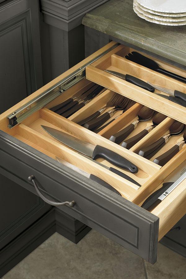 Three Drawer Base Wood Tiered Cutlery Divider  Decora