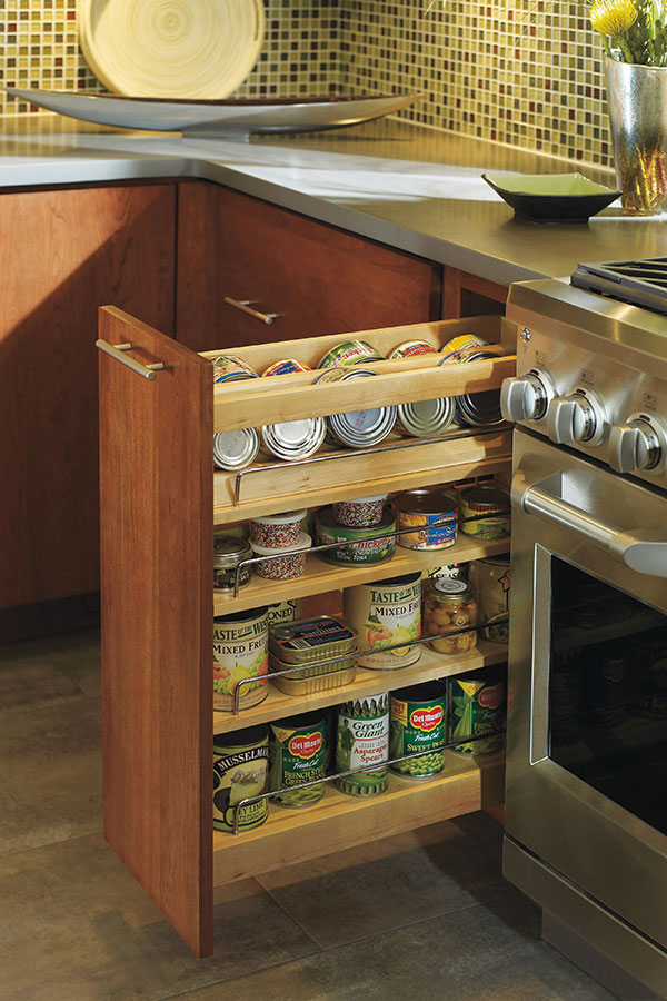 slide out organizers kitchen cabinets sink clogged base spice pull cabinet - decora cabinetry